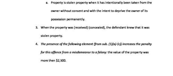 Receiving Stolen Property ($2,500 – $5k) 943.34 (1)(bf)